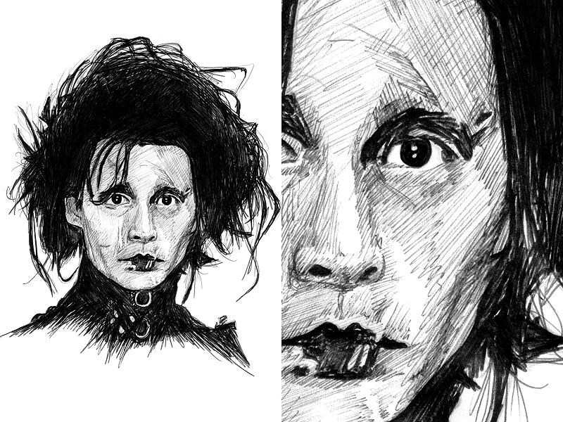 Edward Scissorhands Illustration/Sketch sketch illustration pen black  white johnny depp edward scissorhands