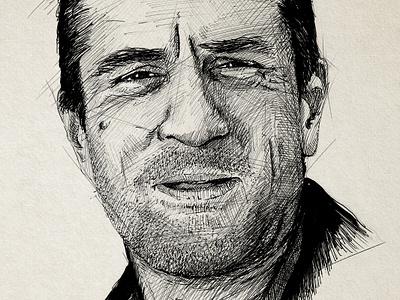 De Niro sketch robert de niro de niro jack walsh sketch illustration pen black  white midnight run