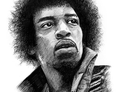 Jimi Hendrix Illustration jimi hendrix illustration pen drawing black white hendrix