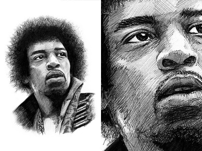 Jimi Hendrix Illustration jimi hendrix illustration pen drawing black white hendrix