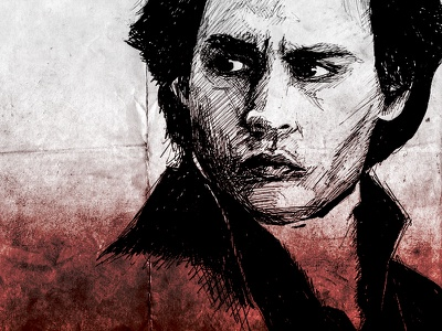 Sleepy Hollow johnny depp sketch illustration texture gradient blood paper
