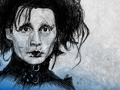Edward Scissorhands johnny depp sketch illustration texture gradient blood paper