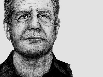 Anthony Bourdain portrait anthony bourdain illustration sketch pen portrait