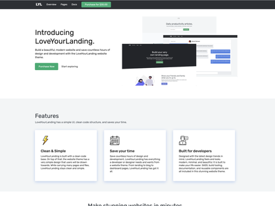 LoveYourLanding HTML Website Theme app webdesign landing page html website theme html website theme website theme