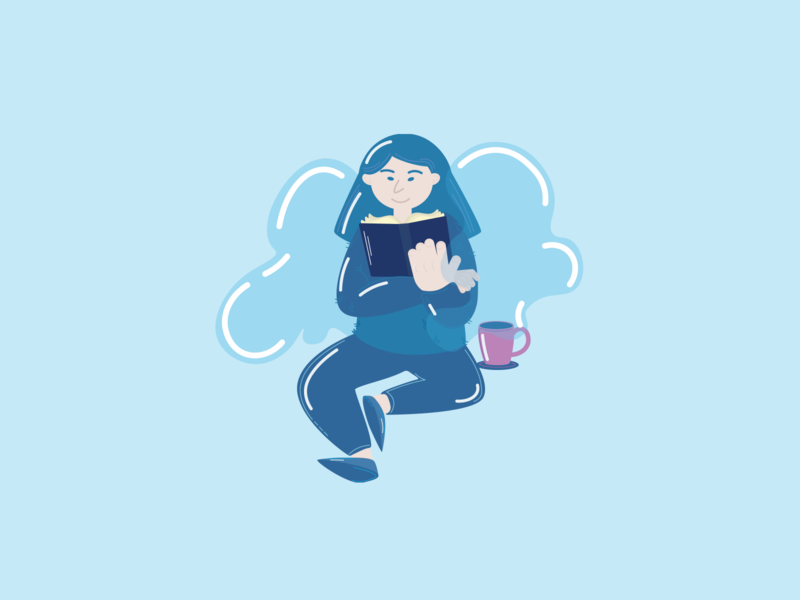 In the clouds design character vector branding reading girl illustration