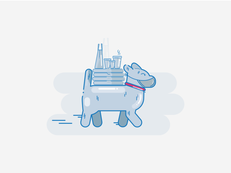 Get the products you want, the way you want. dog ux placeholder illustraion vector branding character