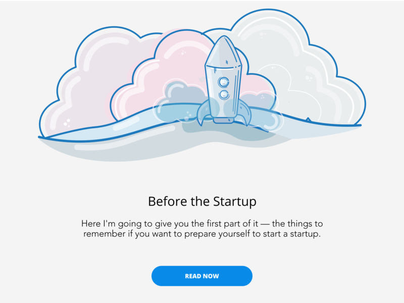 Before the Startup vector illustration article blog writing design branding