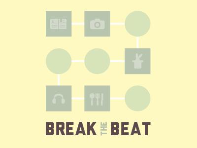 break the beat identity extended identity logo blog personal breakthebeat vintage pastel pictogram icons
