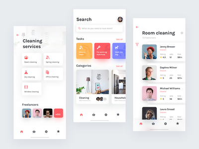 Done – on-demand services app ios white minimal services ux ui app