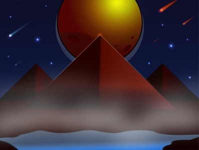 The night view from the space planet with pyramids and lake. sky moon sun stars comet view lake pyramids night space vector illustraion