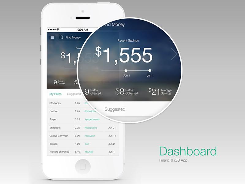 Money Dashboard app ios mobile native ux ia design ui