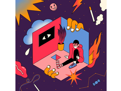 Self-quarantine quarantine illustrator digitalart artwork illustration