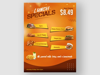 Flyer Design for a Restaurant Lunch Menu social media marketing restaurant branding typography illustration branding vector design