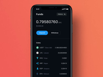 Crypto wallet app ios clean motion graph graphic animation mobile ux ui design colors profile exchange cryptocurrency crypto wallet funds wallet bank account