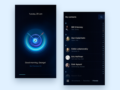 My contacts call watch effects blue mobile ios friendlist contacts concept design ux ui