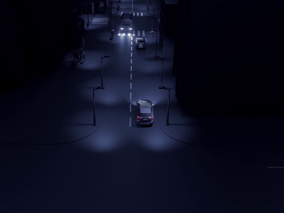 Motion of the car visual speed blue art cgi c4d blender 3d after effect car app vehicle night city cars ui  ux mobile app car motion animation 3d