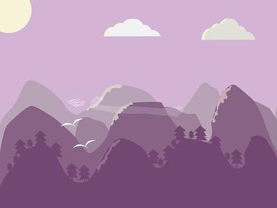 Flat Landscape digital illustrator flat illustration purple landscape flat rebound weekly vector illustration