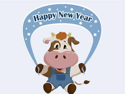 Bull Happy New Year vector illustration