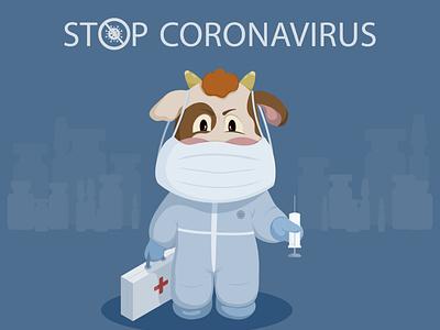Bull doctor vaccine mask covid19 coronavirus bull vector illustration