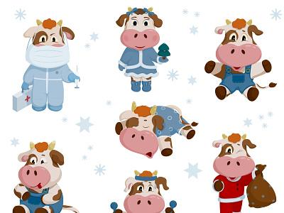 Happy bulls sport happy new year web icon logo vaccine mask coronavirus bull illustration vector
