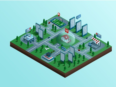 the city of gadgets mobile isolated gadgets city design isometric vector illustration