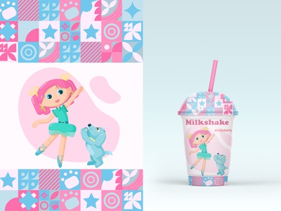 Packaging design of a milkshake girlie character design character milkshake design vector illustration