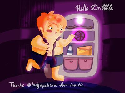 Hello, Dribbble boy night hungry illustration hello invite character procreate