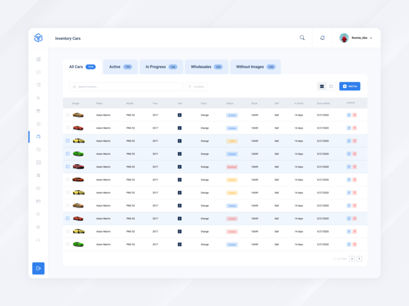 Inventory Screen admin dashboard list car car inventory inventory inventory management web app dashboard ui dashboard app leads