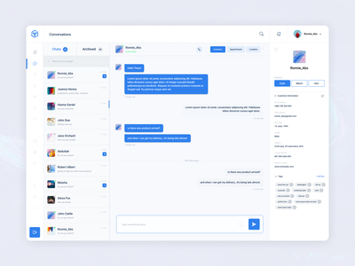 Sales Management System (Chat Screen) web app dashboard app admin dashboard dashboard design conversation chat app chatbot sales dashboard sales management
