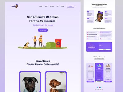 Scoopify Landing Page product business dog cartoonish illustration uiux web design web website design landing page scoopify