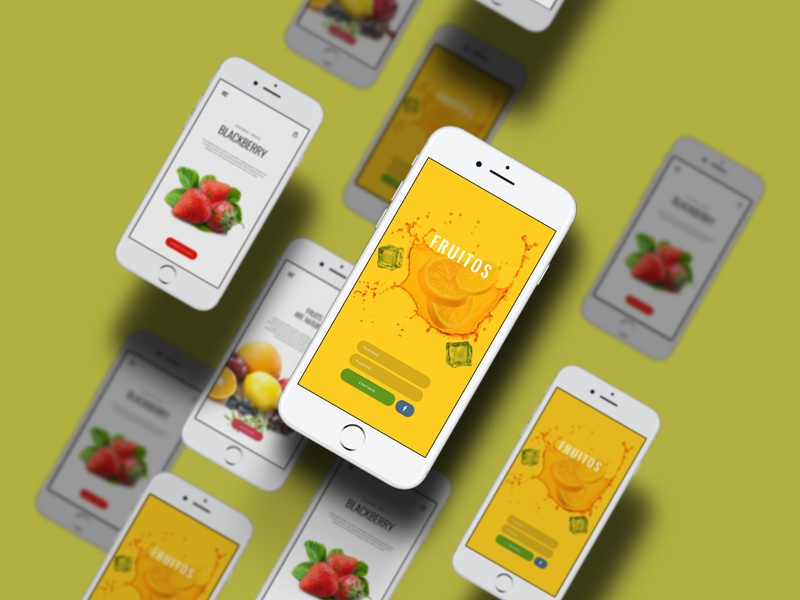 Freebie - Fruitos Creative Apps Design apps design restaurents application ui design ios ui food fruits free app free psd free