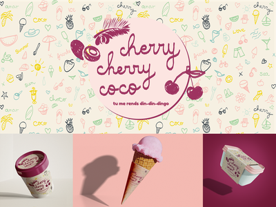Cherry cherry coco playoffs playoff hand drawn handlettering coco cherry pink packaging logo ice cream icecream gourmet design fresh branding design cup company business branding dribbbleweeklywarmup