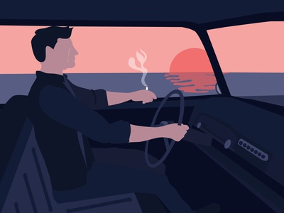 Jim shadows smoking driving crying sky sea drawing illustrator man old car sunset pink ui illustration design blue