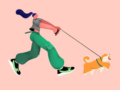 Dog walks human? - Illustration miniature vector design archetype illustration character graphic design