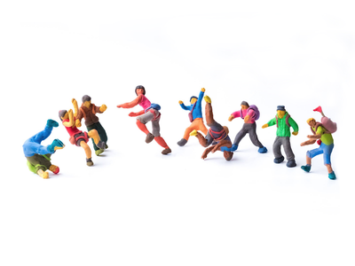 Miniatures from Square Roots character branding miniature clay
