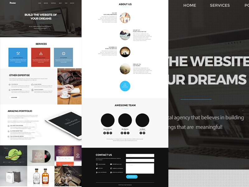 Dream One Page Web Template (Freebie) freebie web template onepage for free download