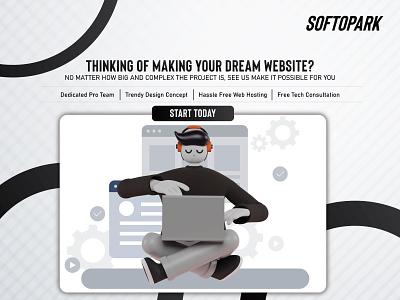 Best Web Development Company in Bangladesh softopark web design web development website illustration 3d mark sketch