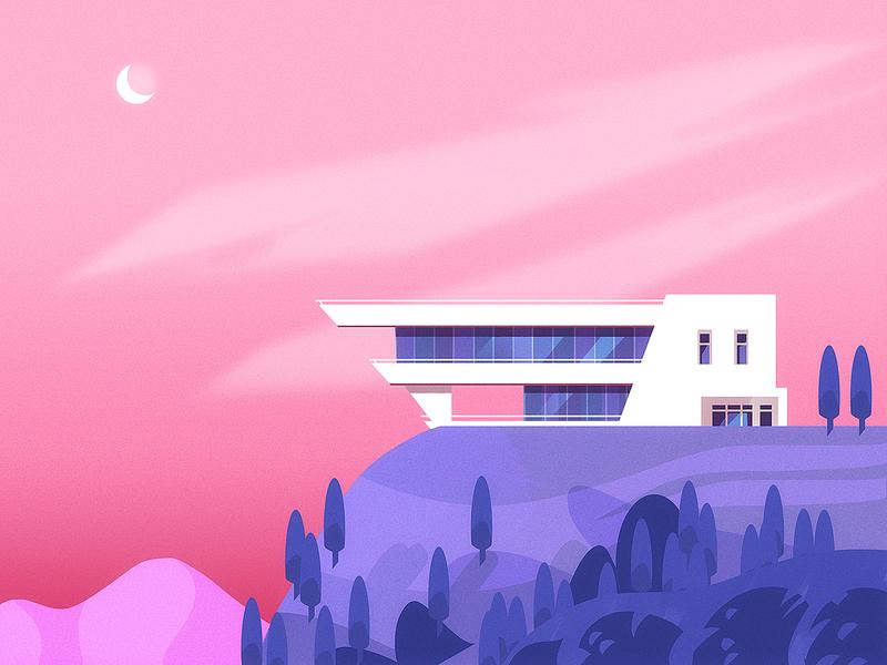 Illustration - Architecture lyon bluck white pink blue landscape house modern challenge architecture illustrator illustration