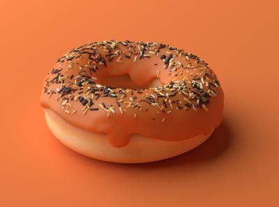 3D - Orange donut eat lyon bluck orange bakery realism donut blender 3d art 3d