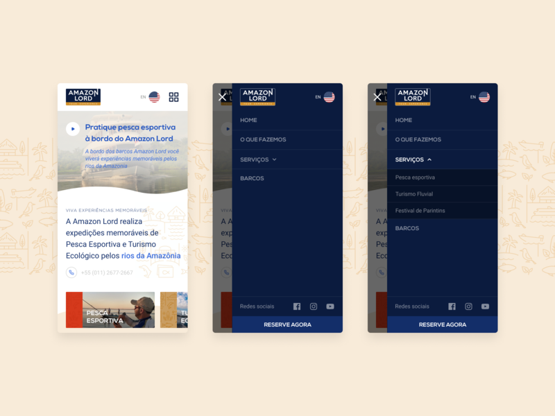Mobile Menu Concept amazon fishing brazil mobile ui travel interface ui design menu mobile