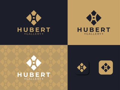 Hubert Gallery graphic design art branding vector minimal logo illustration icon flat design