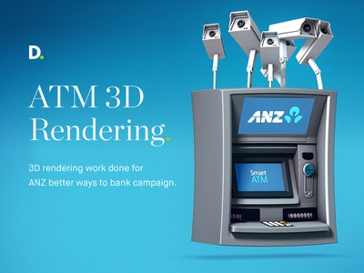 3D Rendering work - ANZ better ways to bank motion design 3d rendering motion 3d anz bank atm