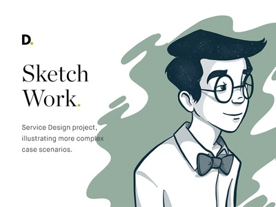 Sketch work shirt bow tie glasses male character user stories illustration illustrations sketches sketch