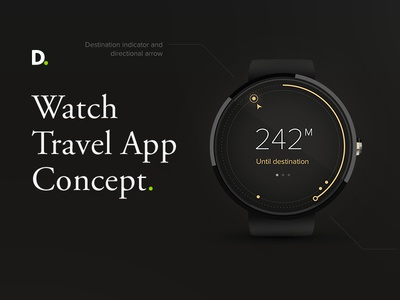 Watch travel app concept distance direction travel application watch android watch app