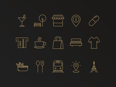 Custome line icon set holiday leisure travel gold icon set line icons icons