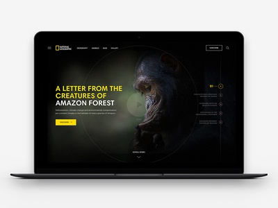 National Geographic - Concept design ui website desktop animals national geographic