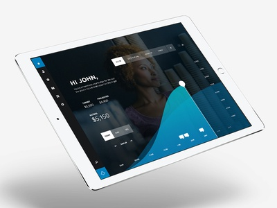 Dashboard business - Concept design layout graph infographic blue ipad ui dashboard