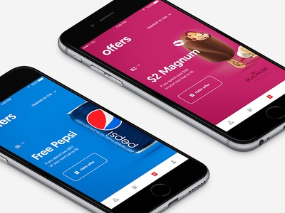 Coupon mobile app concept offers coupon icecream magnum pepsi mobile design ux ui mobile mobile app