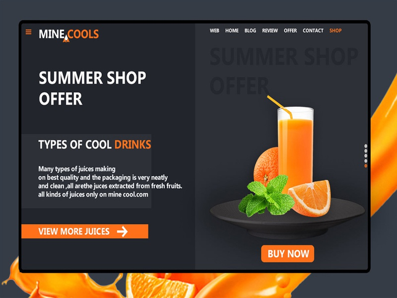 Web landing page for cooldrinks