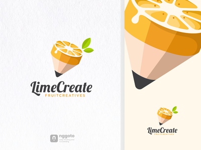 LimeCreate coloring animation artwork illustration art design graphic logotype dualmeaning combination logo fruit drink lemon pencil